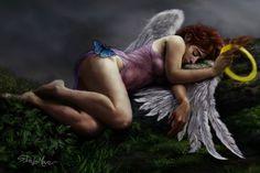 Фото Спящая девушка-ангел, с крыльями за спиной и нимбом в руке, на бедре которой сидит голубая бабочка. Цифровой арт художника Steve De La Mare