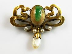 shopgoodwill.com: Antique 14k Gold Emerald In Matrix Nouveau Pin