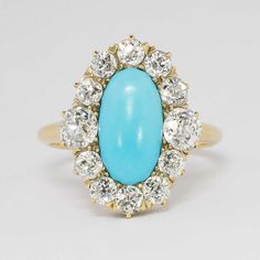 Sensational Victorian Turquoise & 1.60ct t.w. Old European Cut Diamond Ring 18k