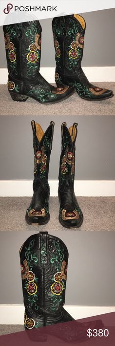 """OLD GRINGO Lucky Stud Cowgirl Boots sz 9 Gorgeous black cowgirl boots embroidered with colourful floral and horseshoe design. Metal stud details. Pointed toe. 1 3/4"""" heel, 13"""" shaft height, 13"""" calf circumference. Worn only a few times. In excellent condition. Made in Mexico. Originally paid $549. These puppies are sure to get you some attention!! Old Gringo Shoes"""