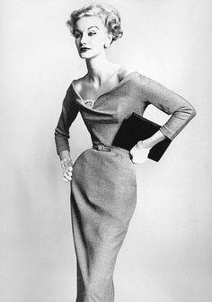 Sunny Harnett in dress by Harvey Berin, photo by Irving Penn, Vogue, September 1, 1952