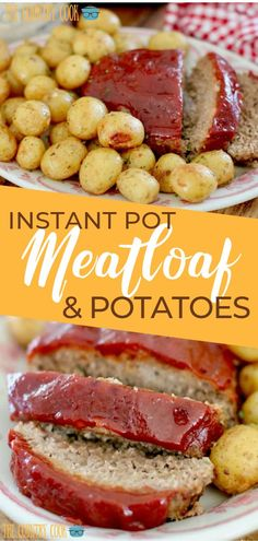 Instant Pot Meatloaf and Garlic Parmesan Potatoes is a whole meal made right in the electric pressure cooker. Tender, flavorful glazed meatloaf and perfectly seasoned potatoes. Beef Meatloaf Recipes, Meat Recipes, Cooking Recipes, Beef Meals, Drink Recipes, Garlic Parmesan Potatoes, Seasoned Potatoes, Best Pressure Cooker Recipes, Instant Pot Pressure Cooker