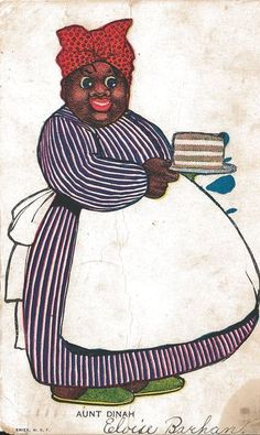 This is such a sweet example of Black Americana.  This Black Mammy, who is named Aunt Dinah, is carrying a piece of her special cake.  This card has