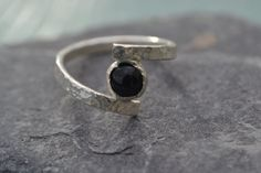 Engagement Ring Silver Ring Onyx Ring Hammered Ring Custom