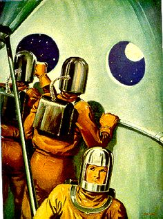 """Look! Over there! // Vintage 1952 colour print retrieved from Flights Into The Future Annual and illustrated by Nat Long. The print is entitled """"The Space-Travellers Will See Our Own Earth Shining In The Distance"""" // And of course, at that time all space travelers were assumed to be men."""