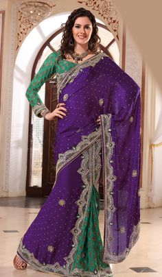 teal and purple saree - Google Search
