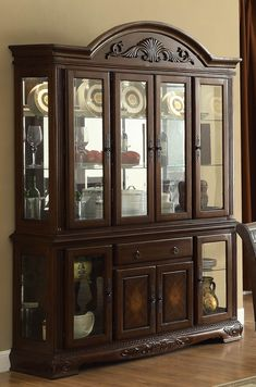 Cherry wood china cabinet Norwich Warm Cherry Buffet With Hutch from Homelegance Glass China Cabinet, Crockery Cabinet, Modern China Cabinet, Curio Cabinets, China Cabinets, Kitchen Cabinets, Buffet Hutch, Cupboard Design, Tabletop Accessories