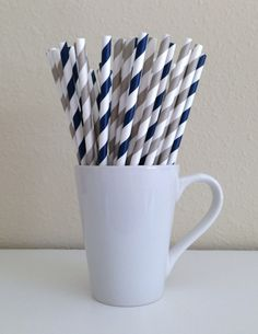 25 Gray / Silver and Navy Blue Striped Paper by PuppyCatCrafts, $3.70