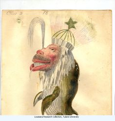 Whale. Costume design from Mistic Krewe of Comus' 1873 'Missing Links' parade. by Charles Briton. New Orleans.