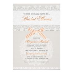 Vintage Rustic Lace Bridal Shower Tangerine Peach Invite