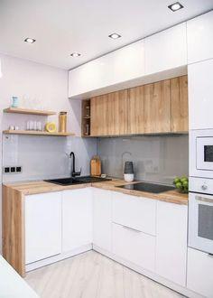9 small kitchen design ideas & organization tips 2 Simple Kitchen Design, Kitchen Room Design, Luxury Kitchen Design, Contemporary Kitchen Design, Home Decor Kitchen, Kitchen Living, Home Kitchens, Contemporary Bedroom, Kitchen Ideas