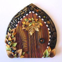 Autumn Leaves Fairy Door Pixie Portal Miniature Door by Claybykim