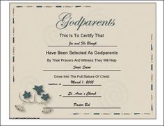 Free printable godparent certificates printable godmother a certificate with a script title and leaf design to be presented to a baby or pronofoot35fo Image collections