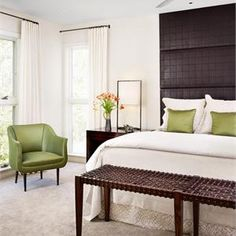 Transitional...Eclectic...Bedroom by Emily Summers! LOVE this Master...Just enogh colors...green is perfect!