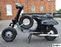 Black Vespa PX road racer Vespa modif