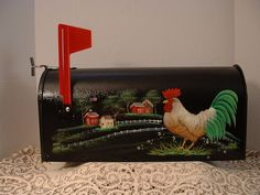 New Rooster Hen Chicks Country Farms Mail Box Hand Painted Folk Art by JMD   eBay