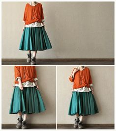 Long sleeve Loose cotton women shirt Women Clothiong Oranger Top Cotton Blouse