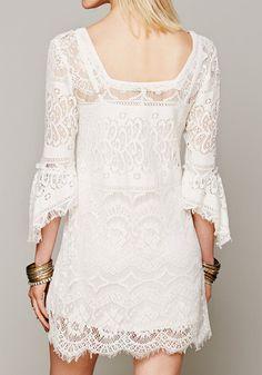 Lace Empire Waist Dress - With Square-cut Neckline
