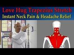 Love Hug Trapezius Stretch for Instant Neck Pain Relief, Tight Muscles, Headaches - Dr Mandell This technique is beneficial to reduce spasm and muscle contracture of the trapezius muscle. Poor posture along with forward head posture causes these muscle. Shoulder Pain Relief, Lower Back Pain Relief, Neck Pain Relief, Neck And Back Pain, Headache Relief, Tension Headache, Muscle Stretches, Neck Exercises, Stretching Exercises