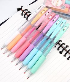 The japanese sarasa milk color gel pens are not only one of our favorite pens but also one of the most popular customer picks! they feature softly colored, Stationary Store, Stationary School, School Stationery, Stationary Supplies, Art Supplies, Food Kawaii, Kawaii Pens, Kawaii Makeup, Kawaii Stuff