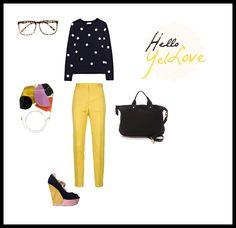 #set #outfit #clothes #stylish #dots #yellow Hello Yello/ Hello YelLove / by Taki Trik