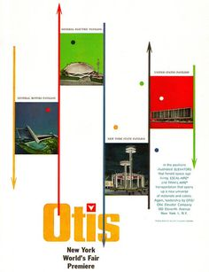 Otis Lifts or Elevators - advertisements for the 1964 N.Y.C. World Fair