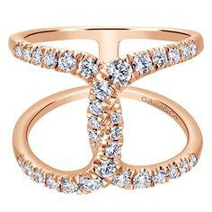 14k Pink Gold Diamond Fashion Ladies' Ring | Gabriel & Co NY | LR50927K45JJ