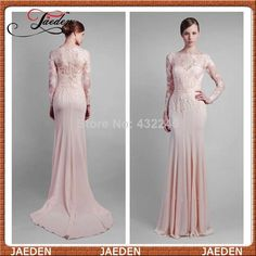 New Modest Long Sleeves Lace Sheer Neck Sheath Elegant Lady Evening Dresses Special Party Dress Gown Formal 2014 Fall Winter $158.00