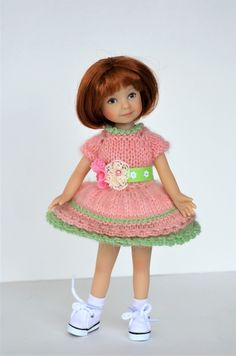 """This Woolen Dress for Easter fits 8"""" Heartstring dolls by D Effner. 