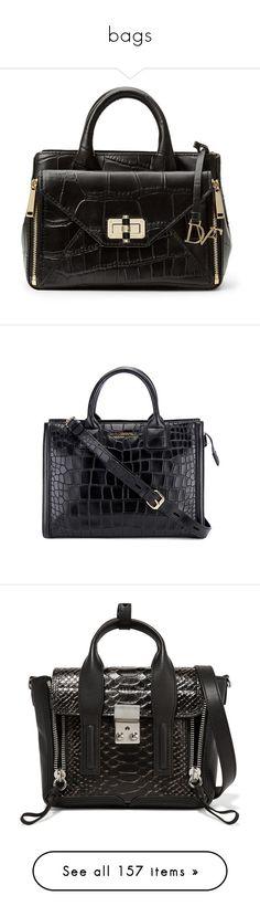 """bags"" by evenaka on Polyvore featuring bags, handbags, tote bags, black, mini handbags, crossbody purse, crossbody handbag, tote purses, crocodile tote and tote hand bags"