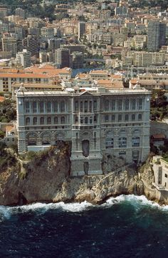 Oceanographic Institute and Aquarium, Monte Carlo, Monaco. If you follow the first turn to the left along the port you'll reach the Grimaldi Palace.