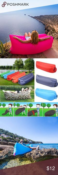 Inflatable Air Bed Sofa Lay Sack  Camping Bag 100% brand new and made of quality nylon. The Hangout is a large bag, do not need any tool, just wave your hand and about a few seconds can be a sleep bed. Secures quickly and easily with the built-in fastening loop. Lightweight, waterproof and durable, cleans easily and stays cool all summer long. Outdoor & Indoor: It was designed to create a perfect product for relaxing in any place & Occasions. Such as: Beach, festivals, holidays, BBQ, travel…