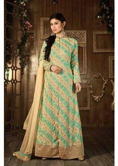Beige, Green faux Georgette Anarkali Suit, - £99.00, #IndianSuitOnline #SuitSale #DesignerSuit #Shopkund