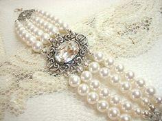 Vintage bridal bracelet, pearl bracelet, wedding jewelry with Swarovski pearls, Swarovski crystal and antique silver accents on Etsy, £31.29