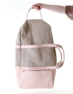 awesome So in LOVE with this pink leather and gray canvas travel bag!!!!!...