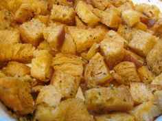 Microwave Croutons from Food.com:   								This was in a recent issue of the kids page in the Sunday paper. It's so easy that even a child can do it and yet it is very good! You can vary the seasonings to your taste.