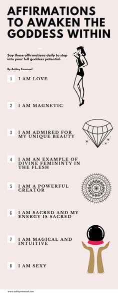 Positive and powerful affirmation to awaken the goddess within. Use these spiritual quotes to get in touch with your spirital nature that is in alignment with the goddess and the goddess energy. Positive Affirmations Quotes, Self Love Affirmations, Affirmation Quotes, Positive Quotes For Life Encouragement, Positive Quotes For Life Happiness, Positive Energy Quotes, Feminine Energy, Divine Feminine, The Divine