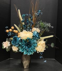 Classic Teal and Cream 2017 by Andrea Fake Flower Centerpieces, Artificial Floral Arrangements, Flower Arrangements Simple, Flower Vases, Flower Decorations, Teal Home Decor, Vase Ideas, Light Orange, Funeral
