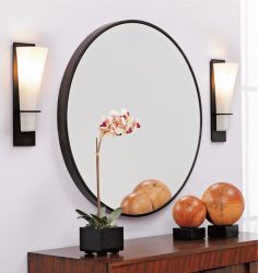 Large round entry mirror w Boulevard Collection Roman Bronze Wallsconces Bronze Wall Sconce, Wall Sconce Lighting, Wall Sconces, Vanity Lighting, Entry Mirror, Round Wall Mirror, Mirror Inspiration, Room Inspiration, Mirror Gallery Wall