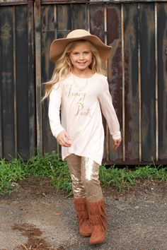 """Pre Order Girl's ST """"Fancy Pants"""" Blush Pink Long Sleeve Top (October) – Southern Tots"""