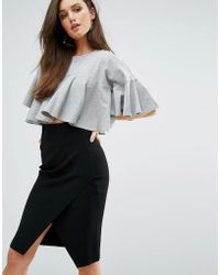 Kendall + Kylie | Kendall + Kylie Cropped Flutter Tee | Lyst