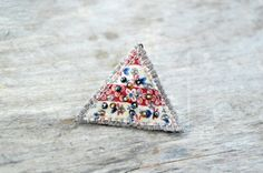 Textile brooch with  pearls and embroidery. Eco friendly fabric brooch. Triangle brooch