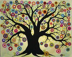 """""""Blooming Tree of Life"""" painted by Maine artist, Karla Gerard. similar to one of our grade art auction projects- use bottle caps! Art Auction Projects, School Art Projects, Auction Ideas, Tree Of Life Painting, Tree Of Life Artwork, Karla Gerard, Blooming Trees, Motif Floral, Art Classroom"""