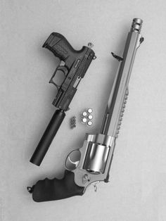 Walther p-22 and smith and Wesson 500 or as I like to call it portible artillery