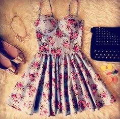 Short spaghetti strap blue sundress with pink floral design