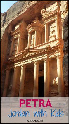 Petra with Kids - Walk, Climb, Ride, Nap - Jo Jacks Travel Toddler Travel, Travel With Kids, Family Travel, Travel Tips, Travel Destinations, Traveling With Baby, Petra, Middle East, Mysterious