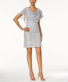 ae575259ea2 Jessica Howard Draped Capelet Lace Dress   Reviews - Dresses - Women -  Macy s