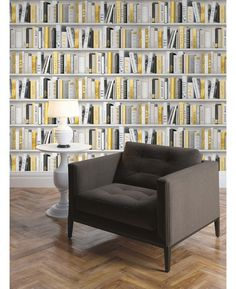 Stunning bookcase design wallpaper Ideal for feature walls and entire rooms Features glitter highlights