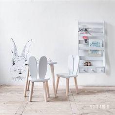 Ensemble chaises et table enfant bois - Lapin Gris