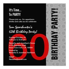 Excellent funny birthday invitation wording for adults to design 60th birthday modern red silver black funny w1471 invitations filmwisefo